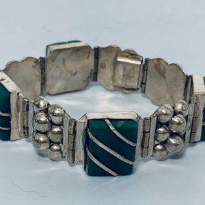 """Vtg Green Agate Panel Bracelet Sterling Silver-7"""""""